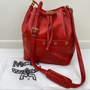 MCM Red Leather Crossbody Bucket Bag